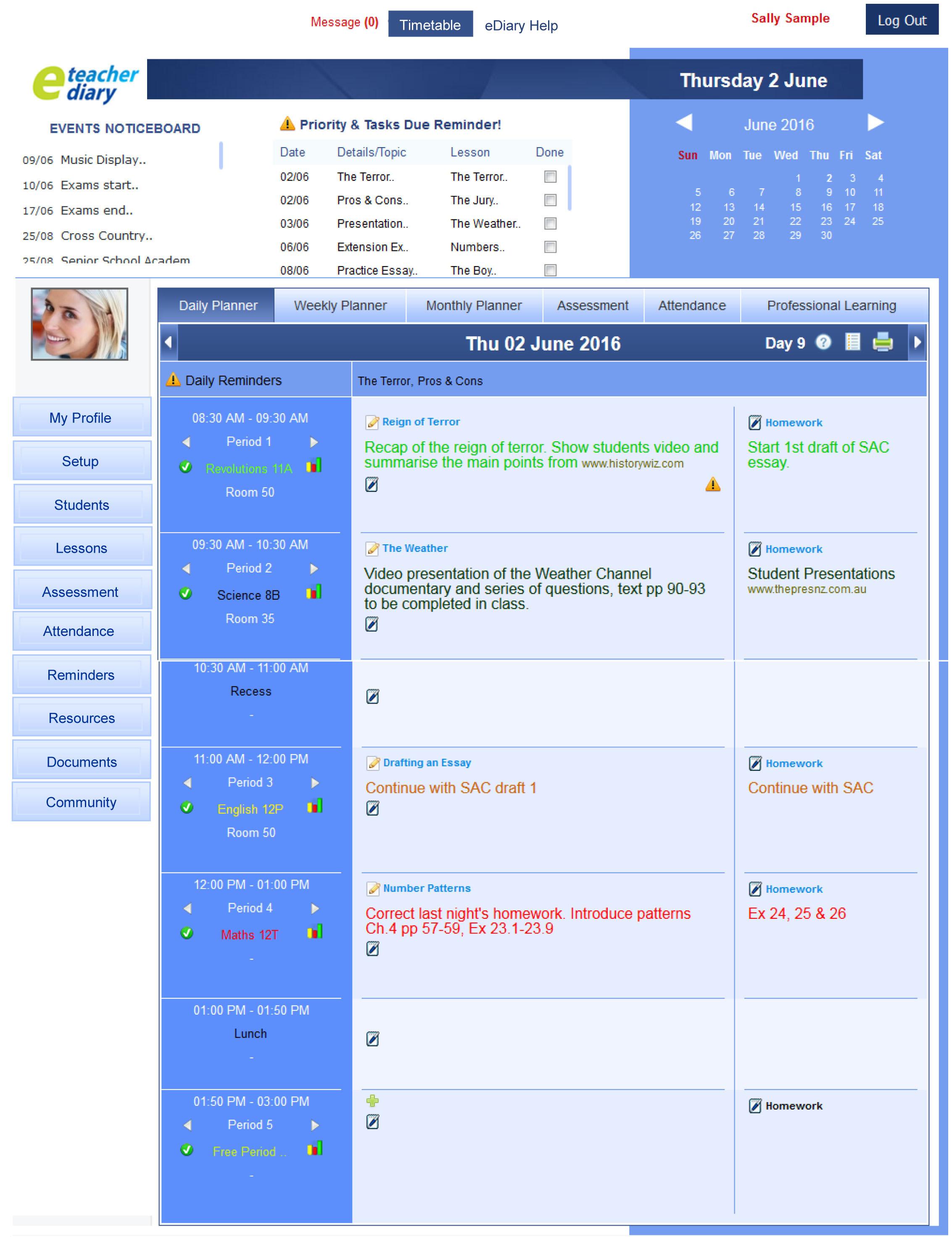 eDiary Weekly Planner View